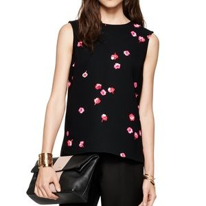 Kate Spade Falling Florals Top Women's Top Black 0